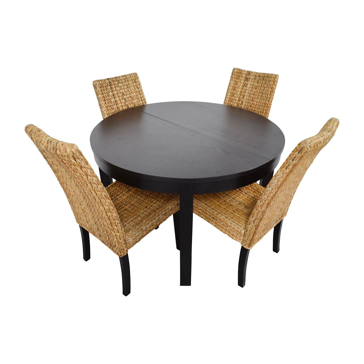 macys dining chairs chicco high 66 off macy 39s and ikea round black table set with