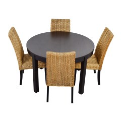 Round Table With Chairs Chair Cover Rental Northwest Indiana 66 Off Macy 39s And Ikea Black Dining Set