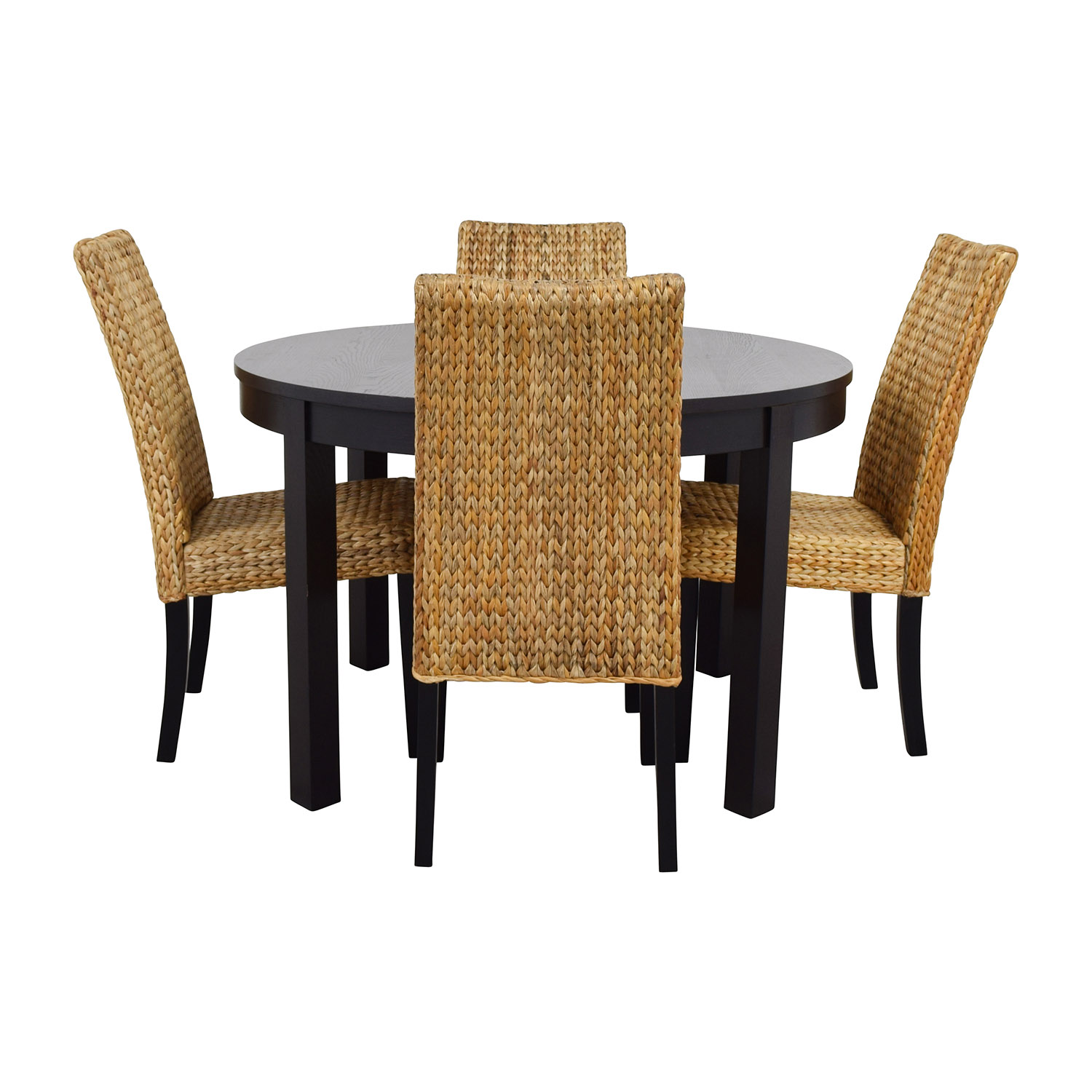 set of dining chairs antique morris chair cushions 66 off macy 39s and ikea round black table with