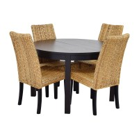 66% OFF - Macy's & IKEA Round Black Dining Table Set with ...