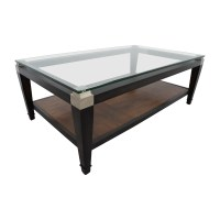 78% OFF - Macys Macy's Glass and Wood Coffee Table / Tables