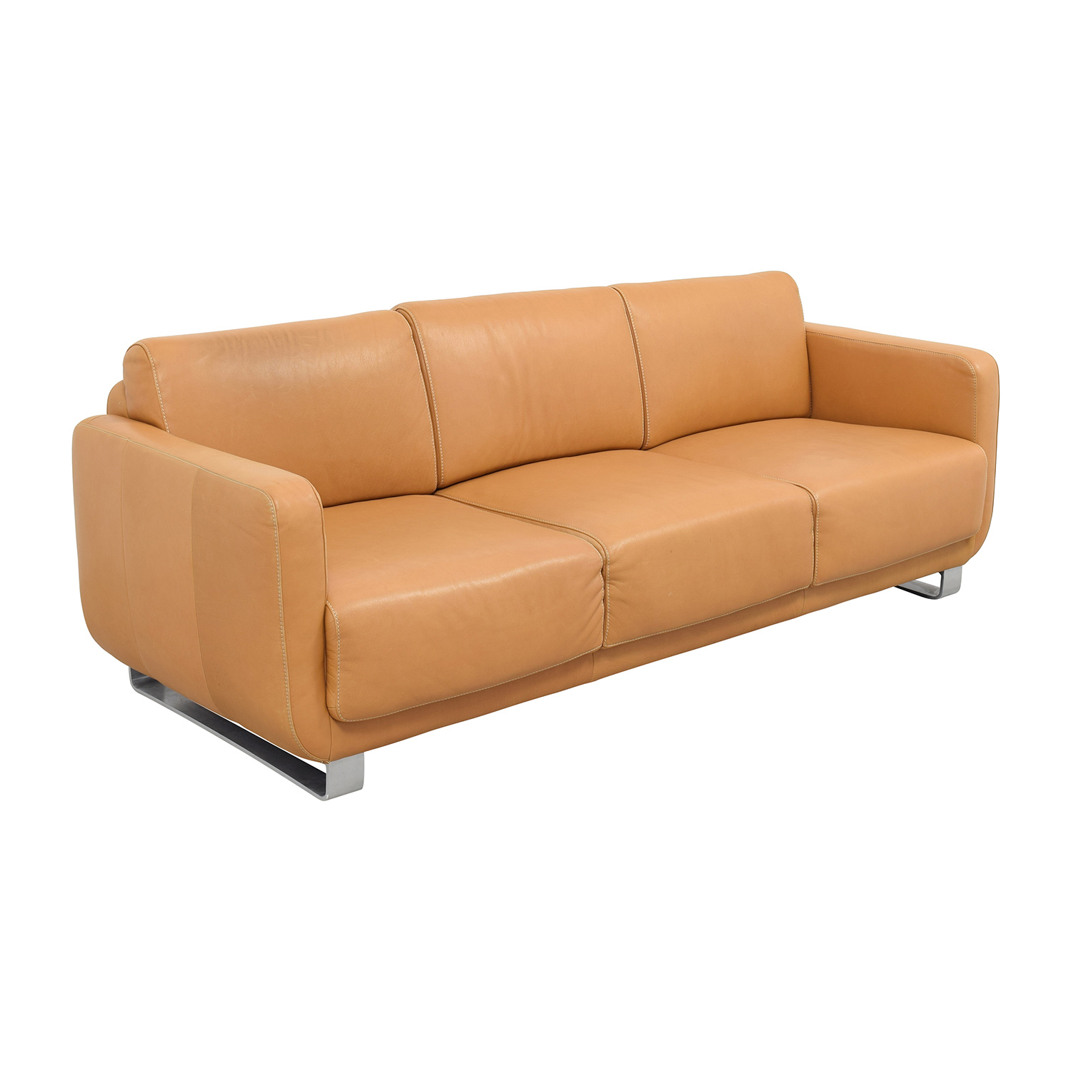 light brown leather reclining sofa full grain italian sectional 74 off w schillig