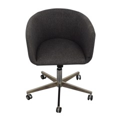 Desk Chair On Wheels Covers For Wedding Receptions Rental 80 Off Modern Grey Office With Chrome Chairs