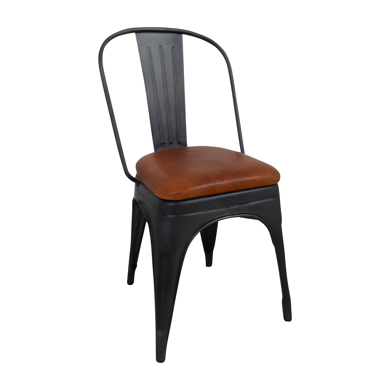 50 OFF  Modern Steel Desk Chair with Brown Leather Seat