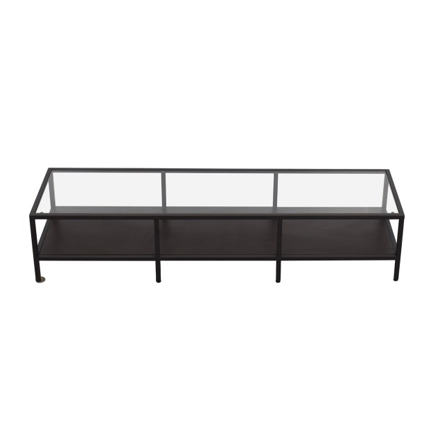 87% off - ethan allen ethan allen metal and glass cube coffee table