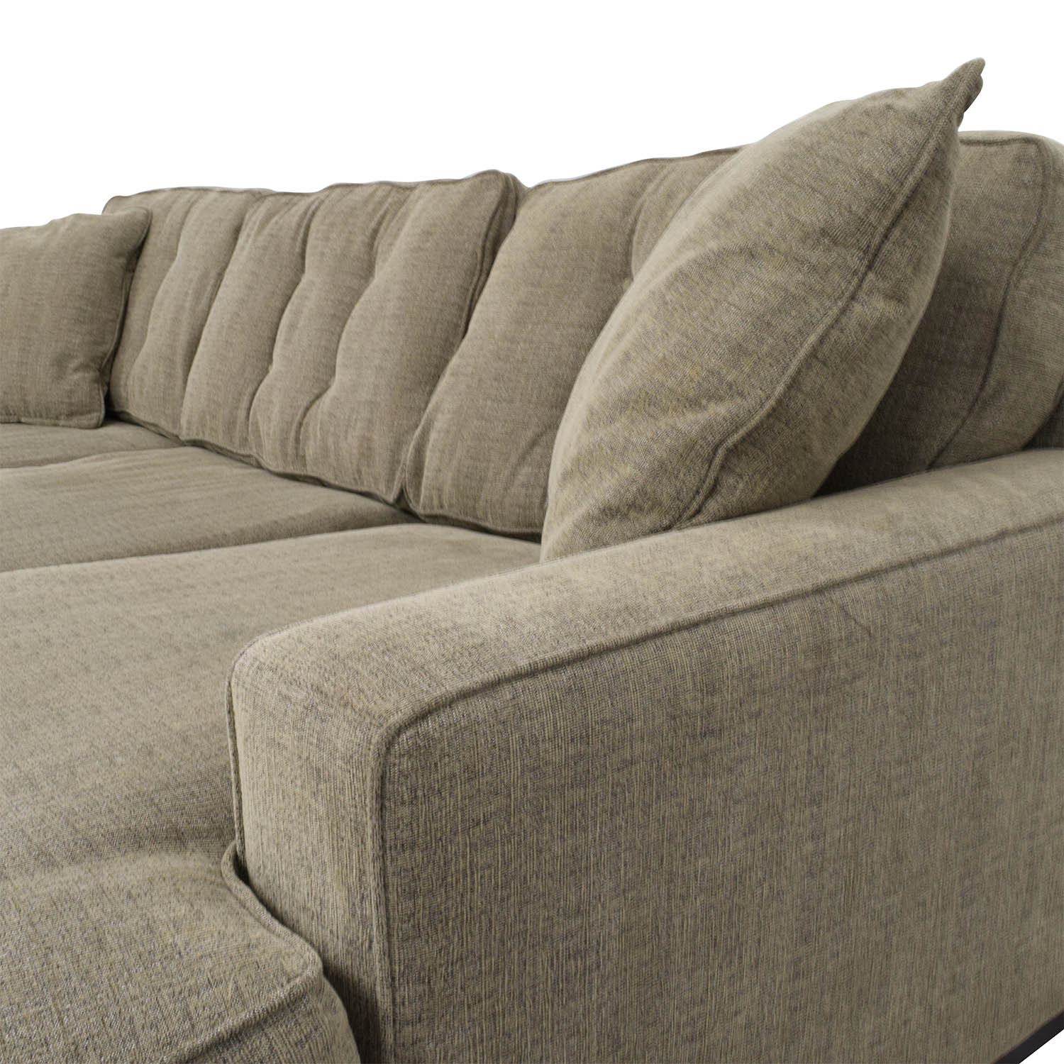 61 OFF  Grey LShaped Tufted Sectional with Right Chaise  Sofas
