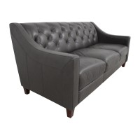 69% OFF - Macy's Macy's Tufted Gray Leather Sofa / Sofas