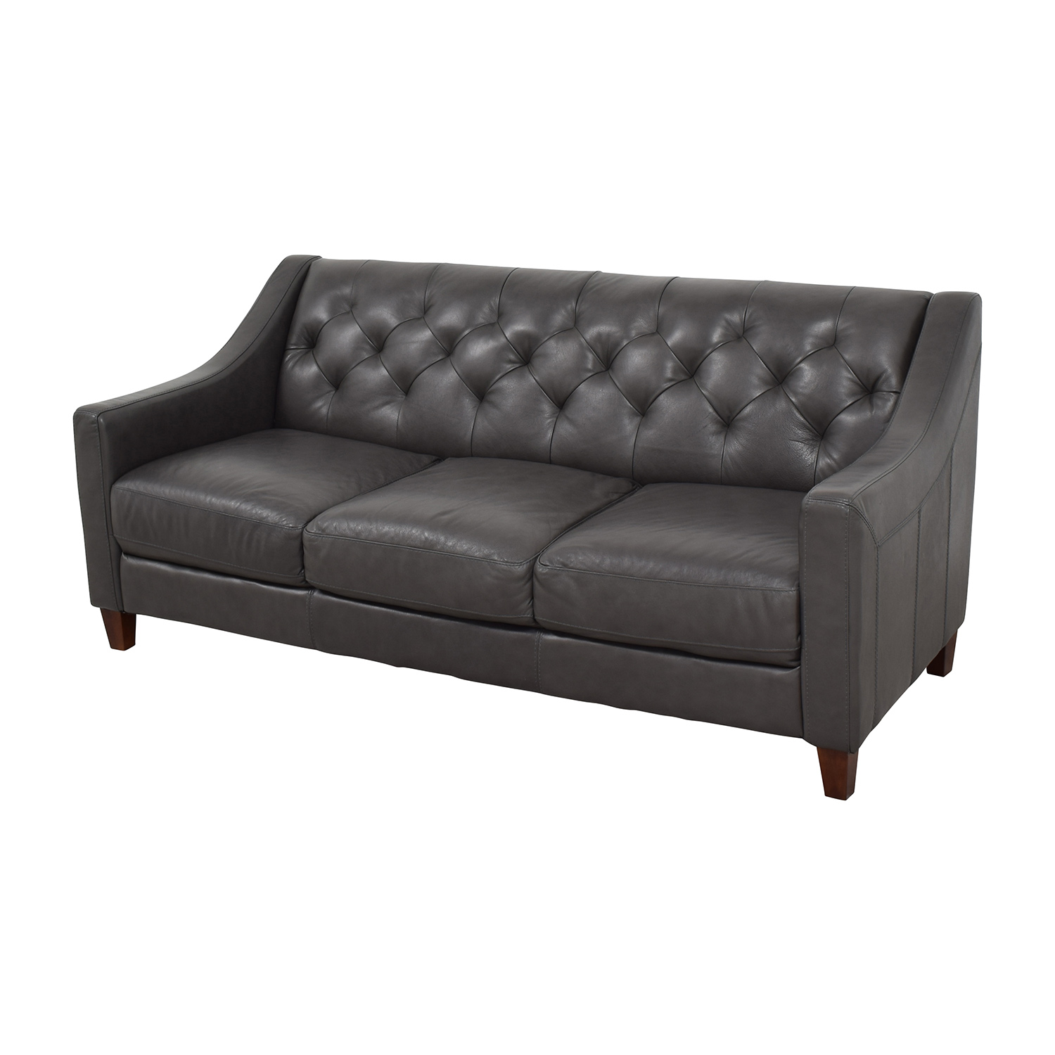 tufted sofa leather black covers canada 69 off macy 39s gray sofas