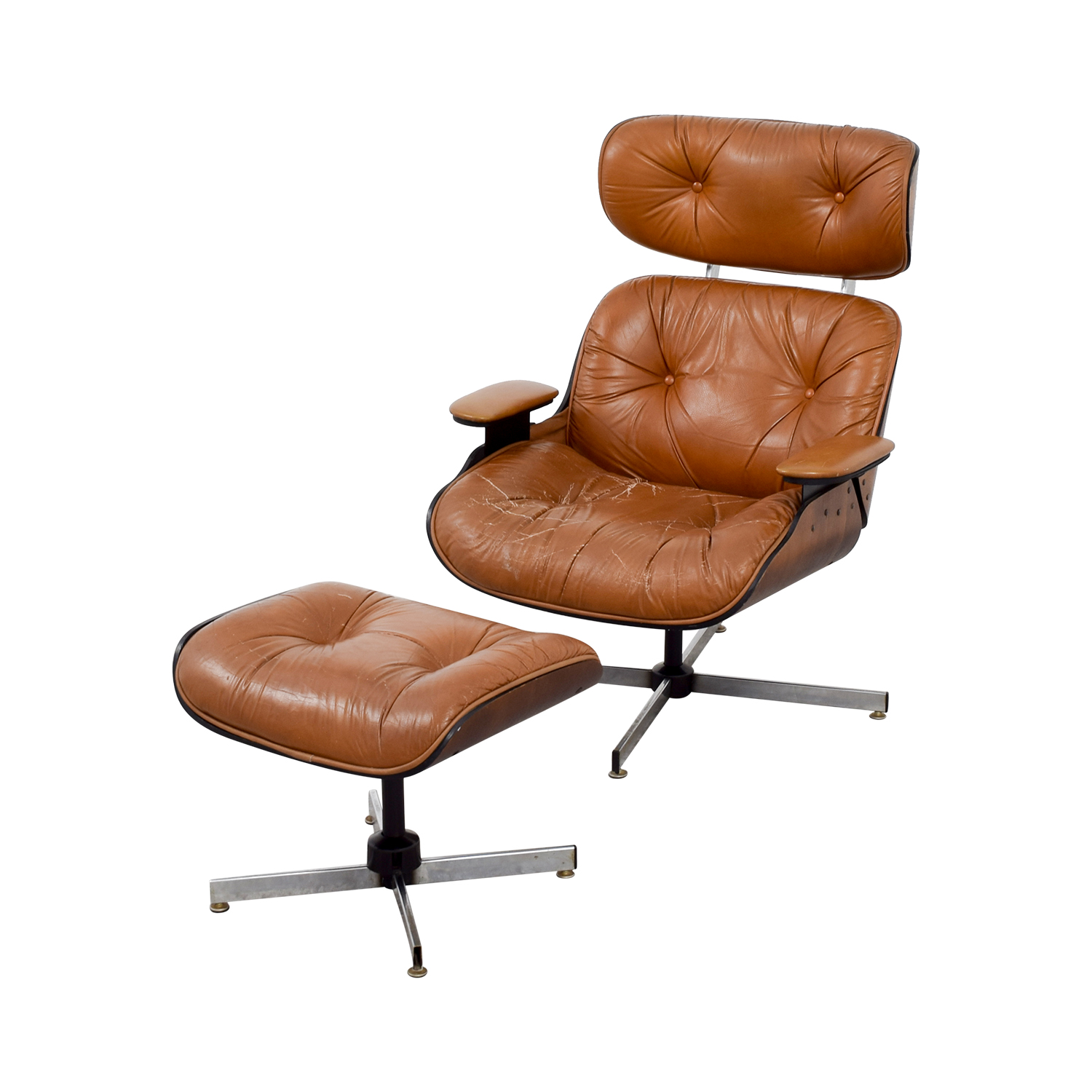 69 OFF  Eames Replica Leather Chair with Ottoman  Chairs