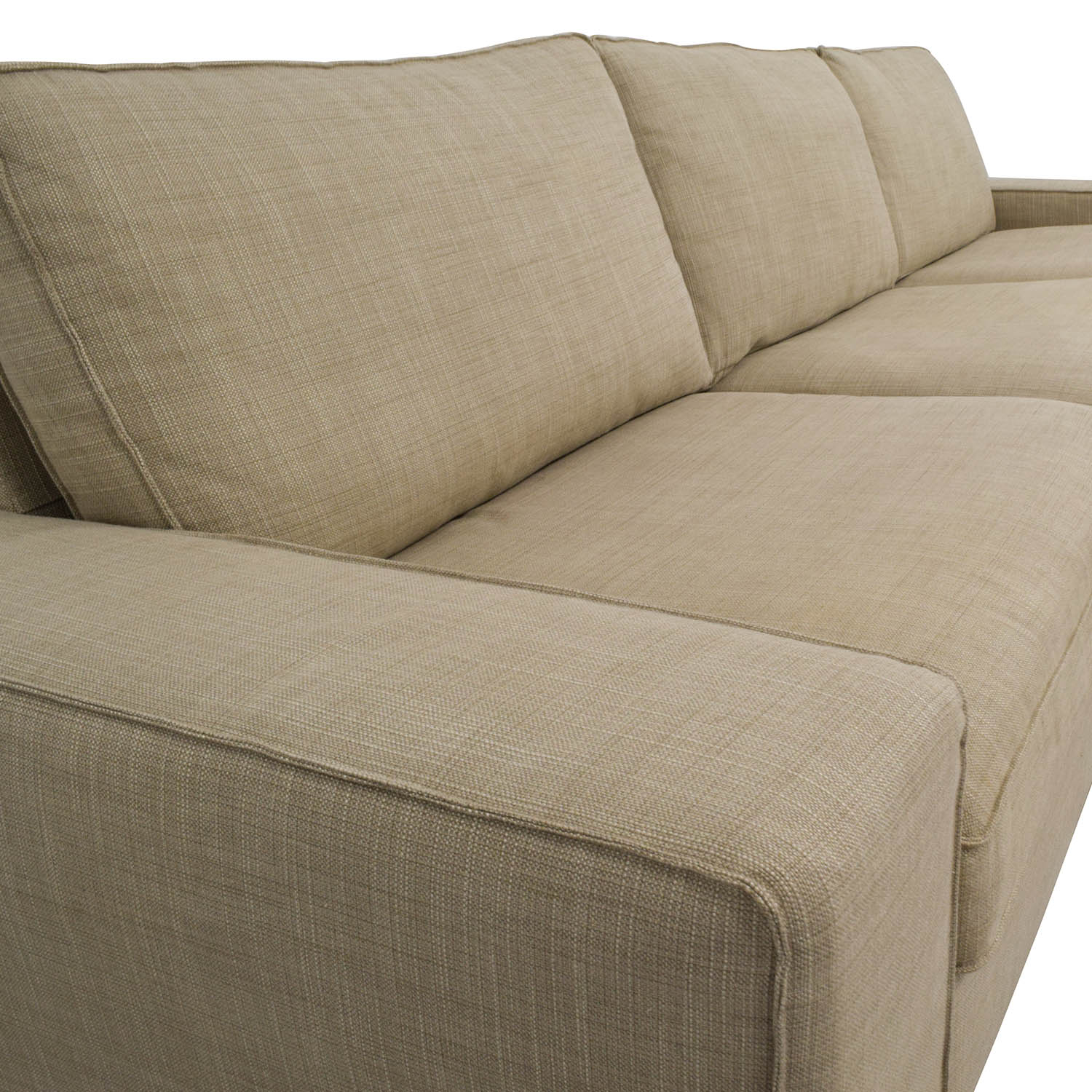 beige microfiber sectional sofa with storage chaise protector spray 50 off ikea kivik in hillared sofas