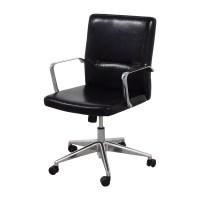 58% OFF - Sleek Black Office Chair with Chrome Armrest ...