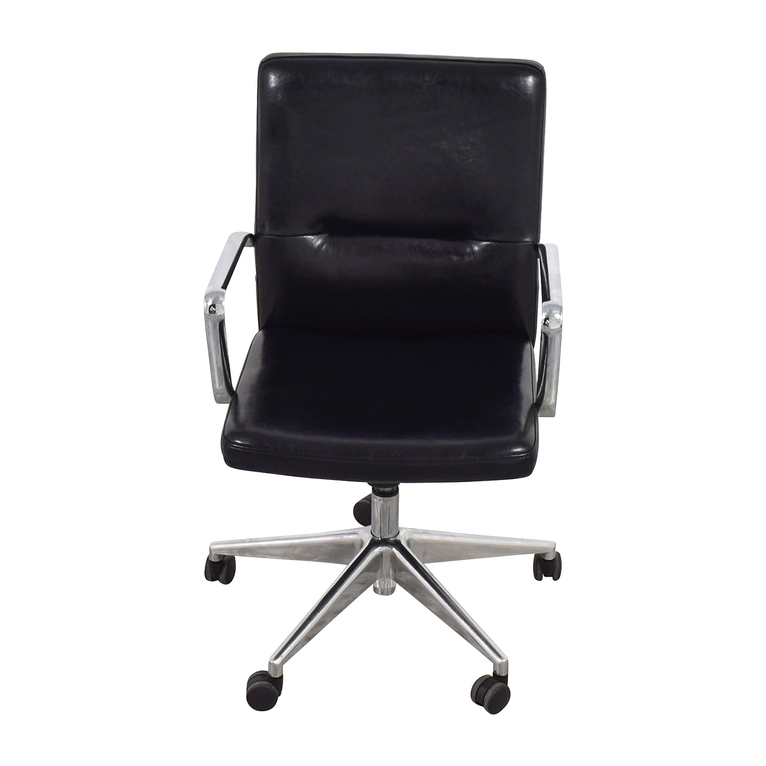 58 OFF  Sleek Black Office Chair with Chrome Armrest