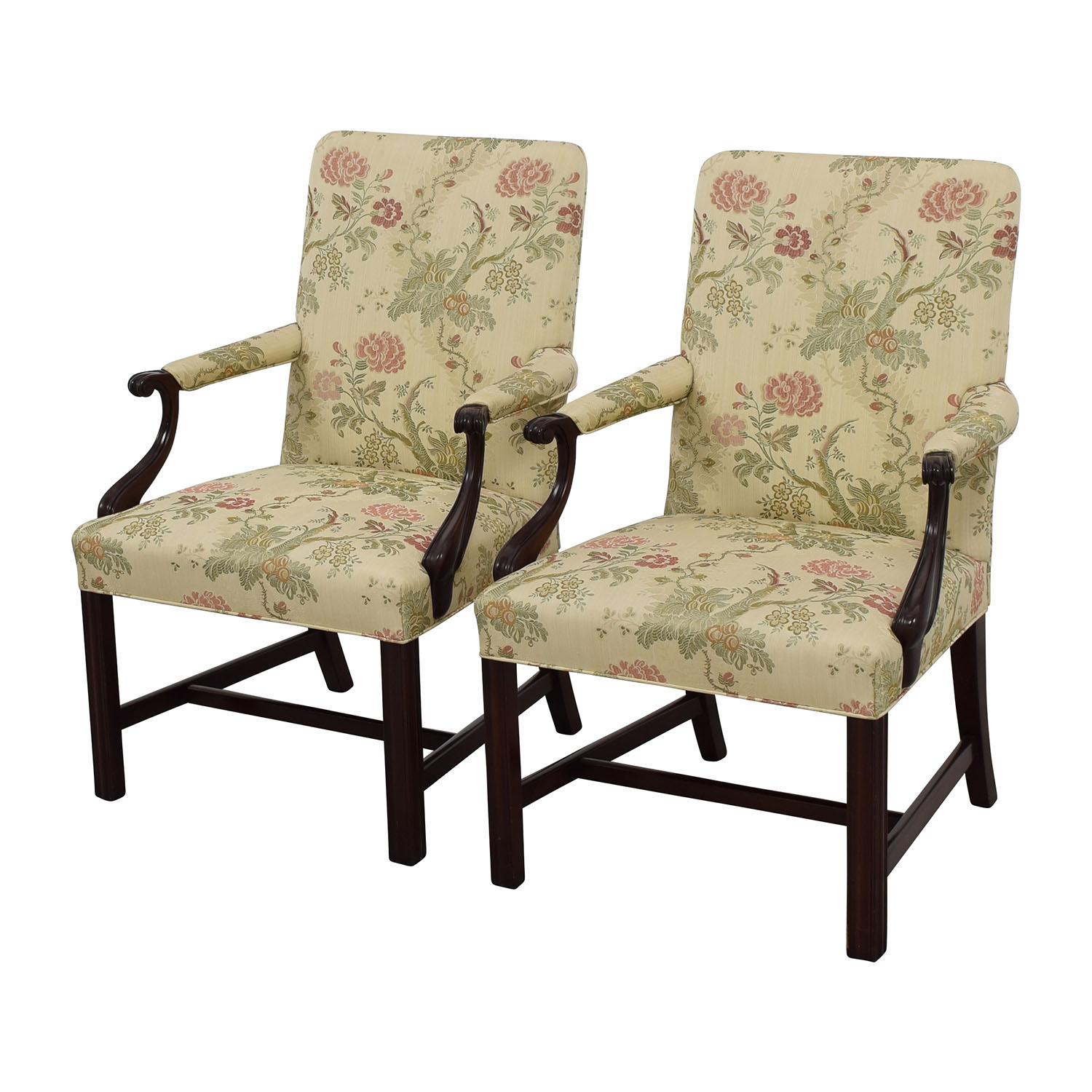 Armed Accent Chairs 90 Off Traditional Upholstered Arm Chair Set Of Two
