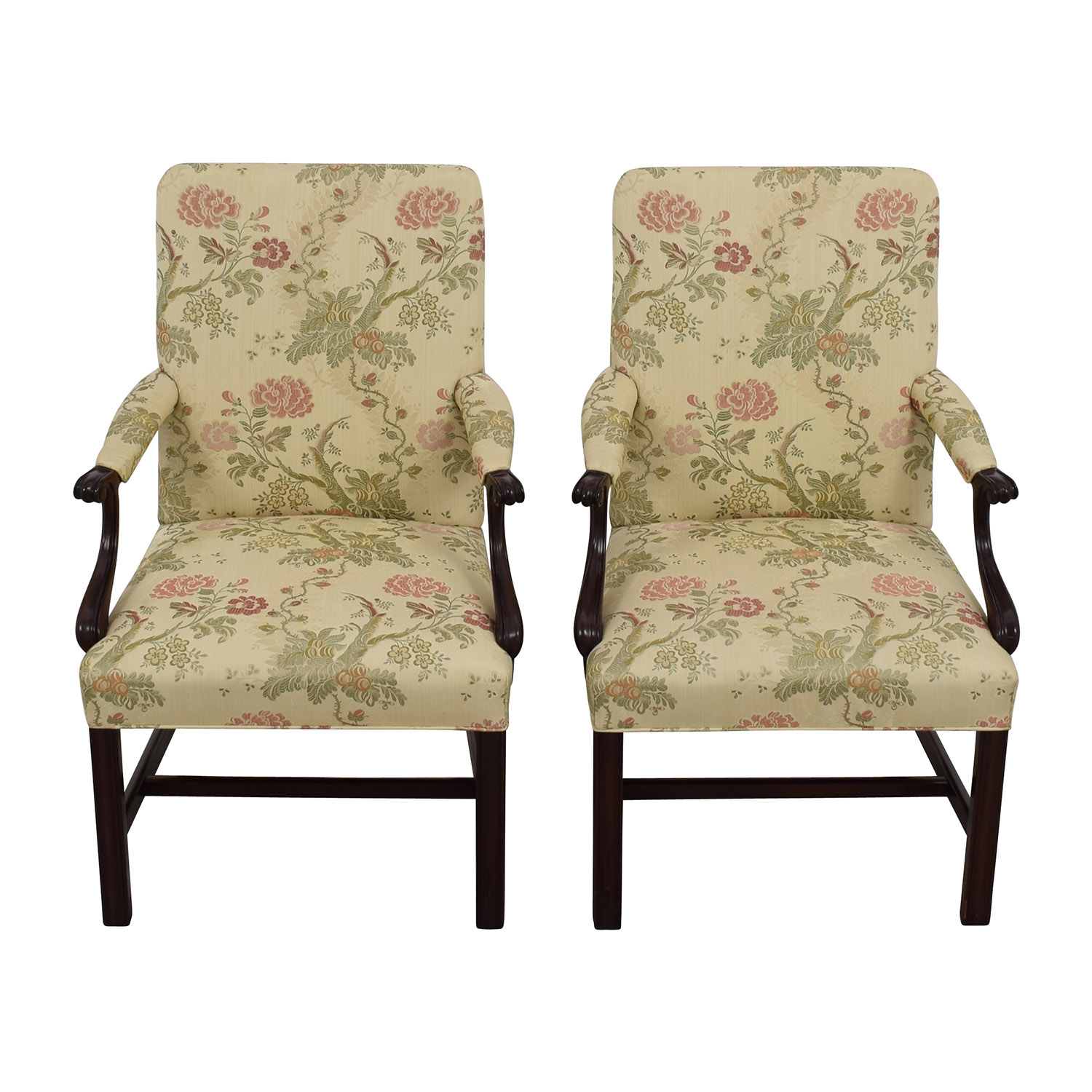 Upholstered Accent Chairs With Arms 90 Off Traditional Upholstered Arm Chair Set Of Two