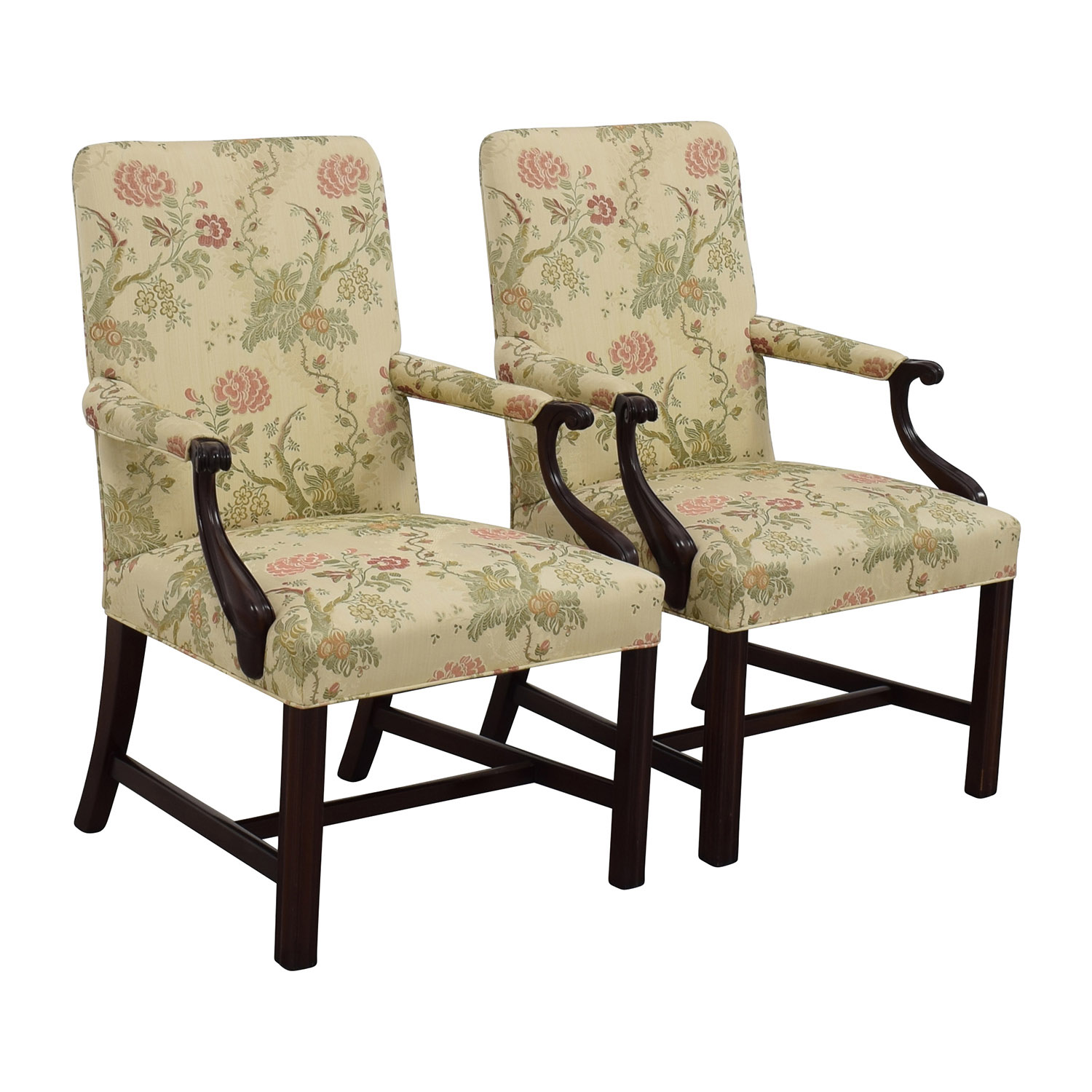 Armchairs & Accent Chairs 90 Off Traditional Upholstered Arm Chair Set Of Two