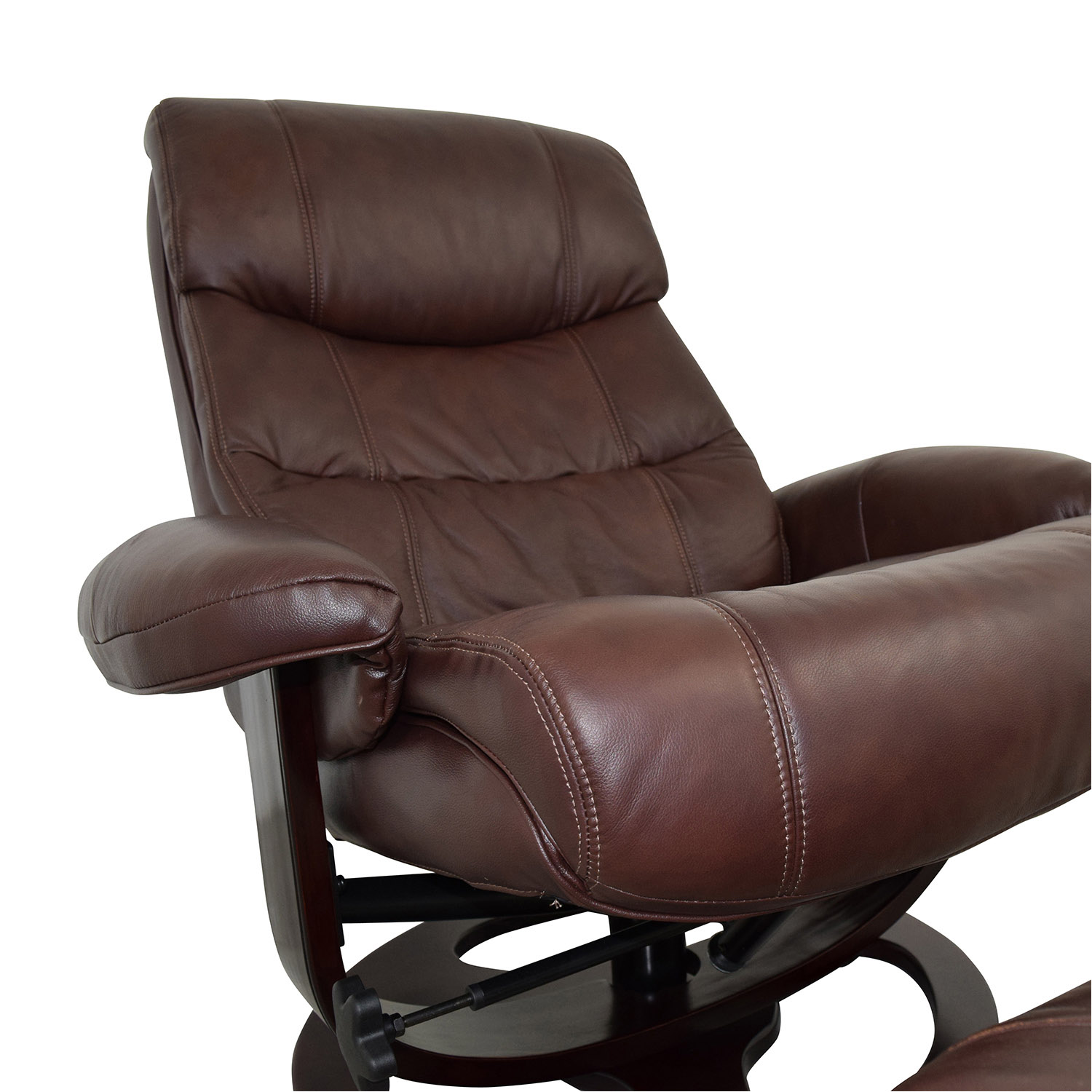 59 OFF  Macys Macys Aby Brown Leather Recliner Chair  Ottoman  Chairs