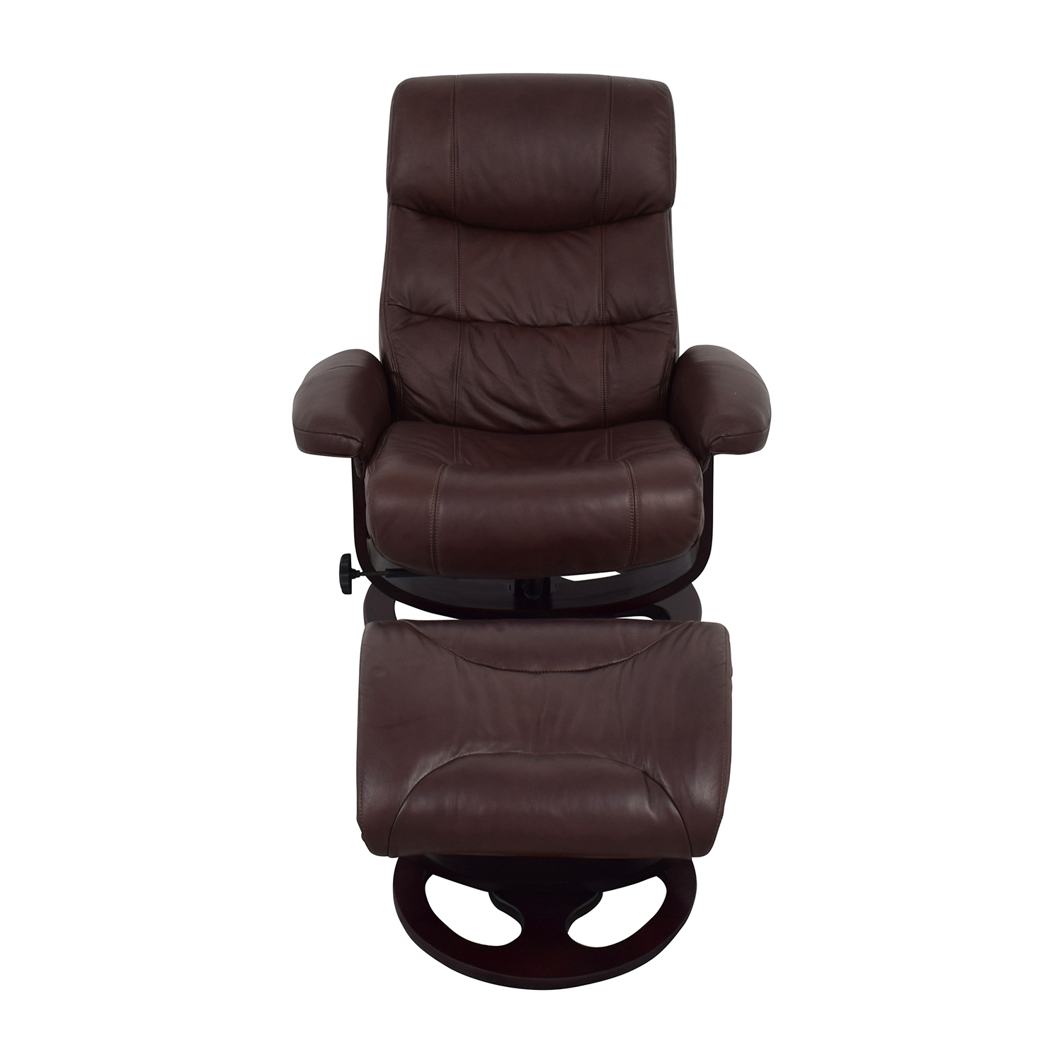 recliner chair with ottoman manufacturers fabric for chairs 59 off macy 39s aby brown leather