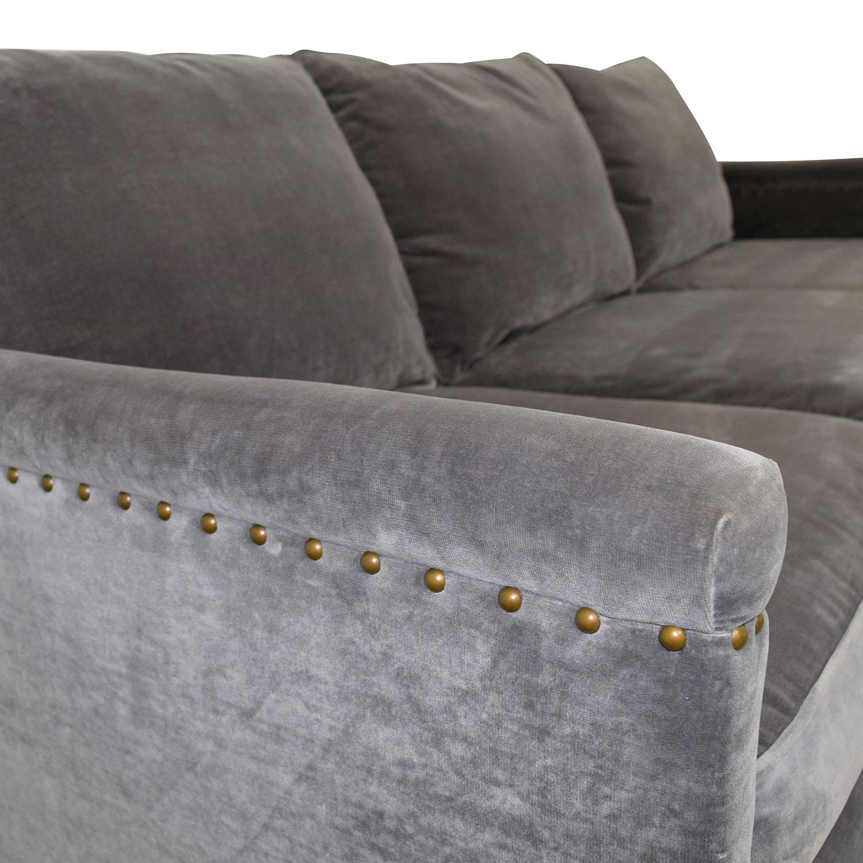 accent sofa sets costco tuscany leather 86% off - williams sonoma william grey studded trim ...