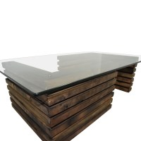 88% OFF - Rustic Industrial Wood and Glass Coffee Table ...