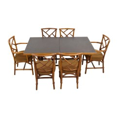 6 Chair Dining Set Plastic Covers For Room Seats 64 Off Bamboo With Six Chairs Tables