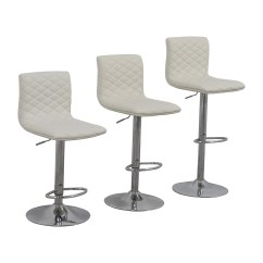 Stool Chair Second Hand Office Expensive 45 Off White Quilted Bar Chairs Coupon