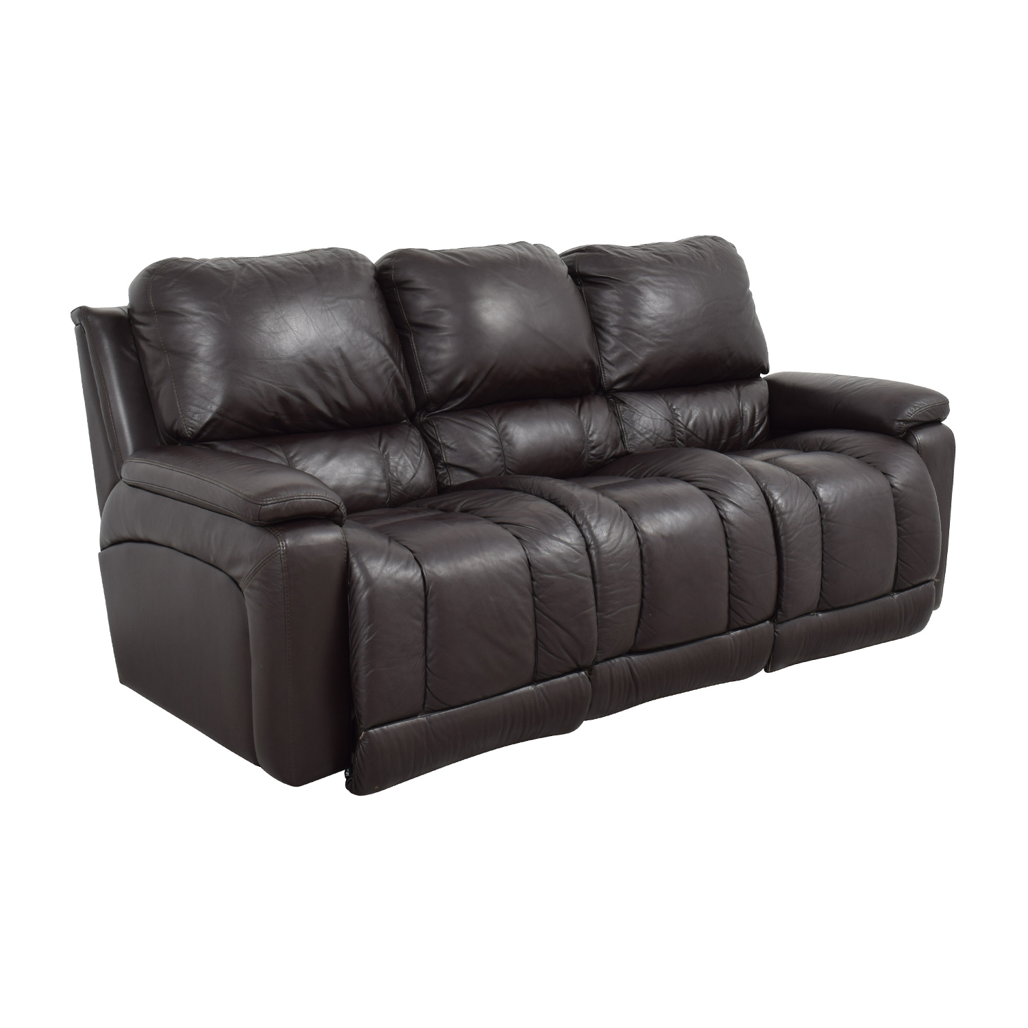 77 OFF  LaZBoy LaZBoy Brown Leather Reclining Sofa  Sofas
