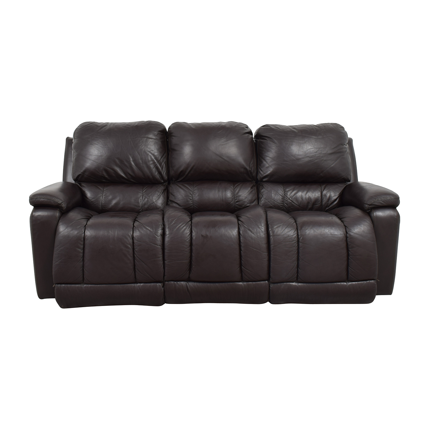 77 OFF  LaZBoy LaZBoy Brown Leather Reclining Sofa