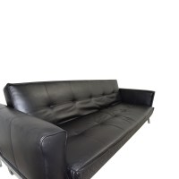 35% OFF - Black Leather Sleeper Sofa / Sofas