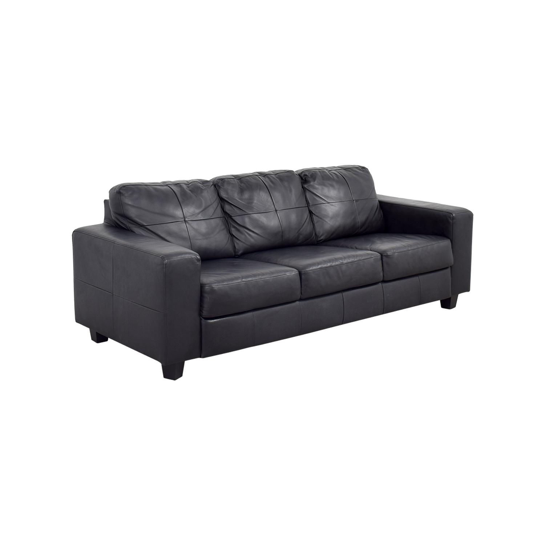 44 OFF  IKEA IKEA Skogaby Black Leather Sofa  Sofas