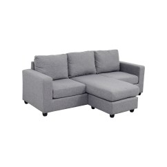 Grey Large L Shaped Sofa White Leather Sectional 35 Off Chaise Couch Sofas