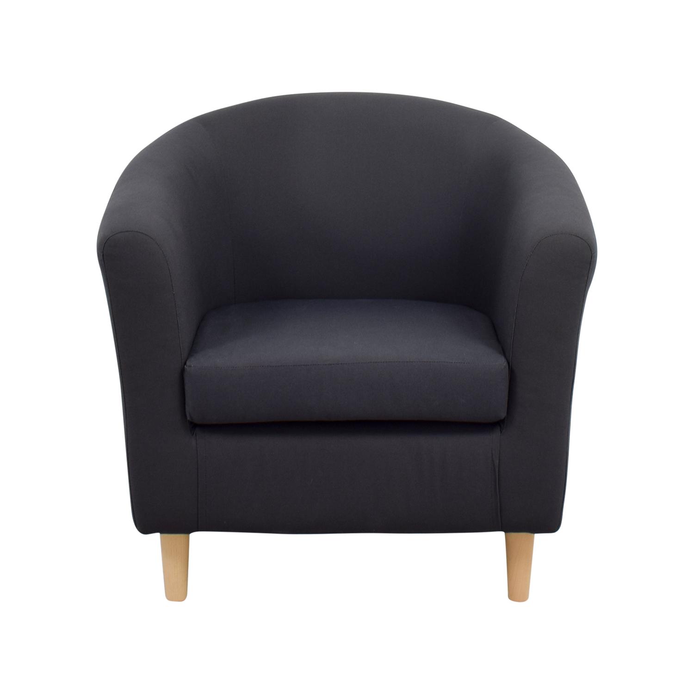 90 OFF  Natuzzi Natuzzi Black Leather Swivel Chair with
