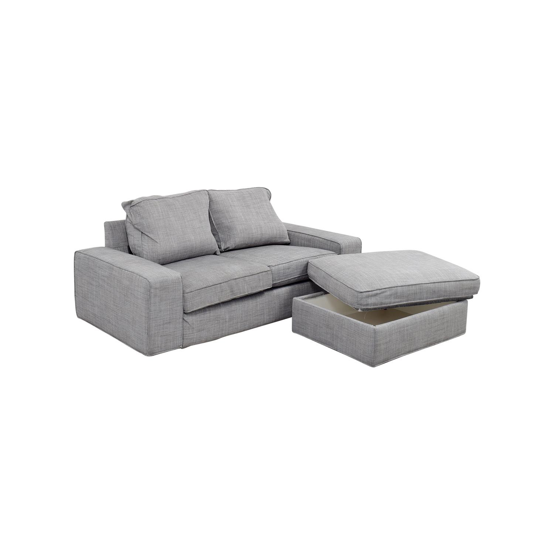 sofa and ottoman white leather nailhead 64 off ikea kivik gray sofas