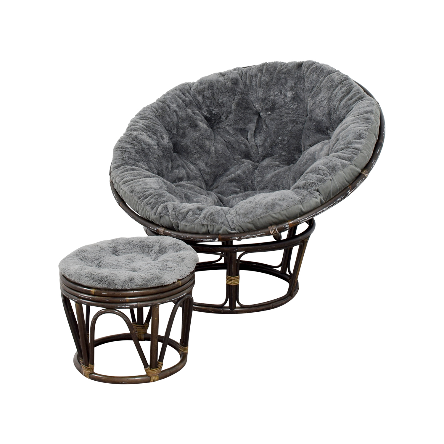 86 OFF  Pier 1 Pier 1 Papasan Chair with Stool  Chairs