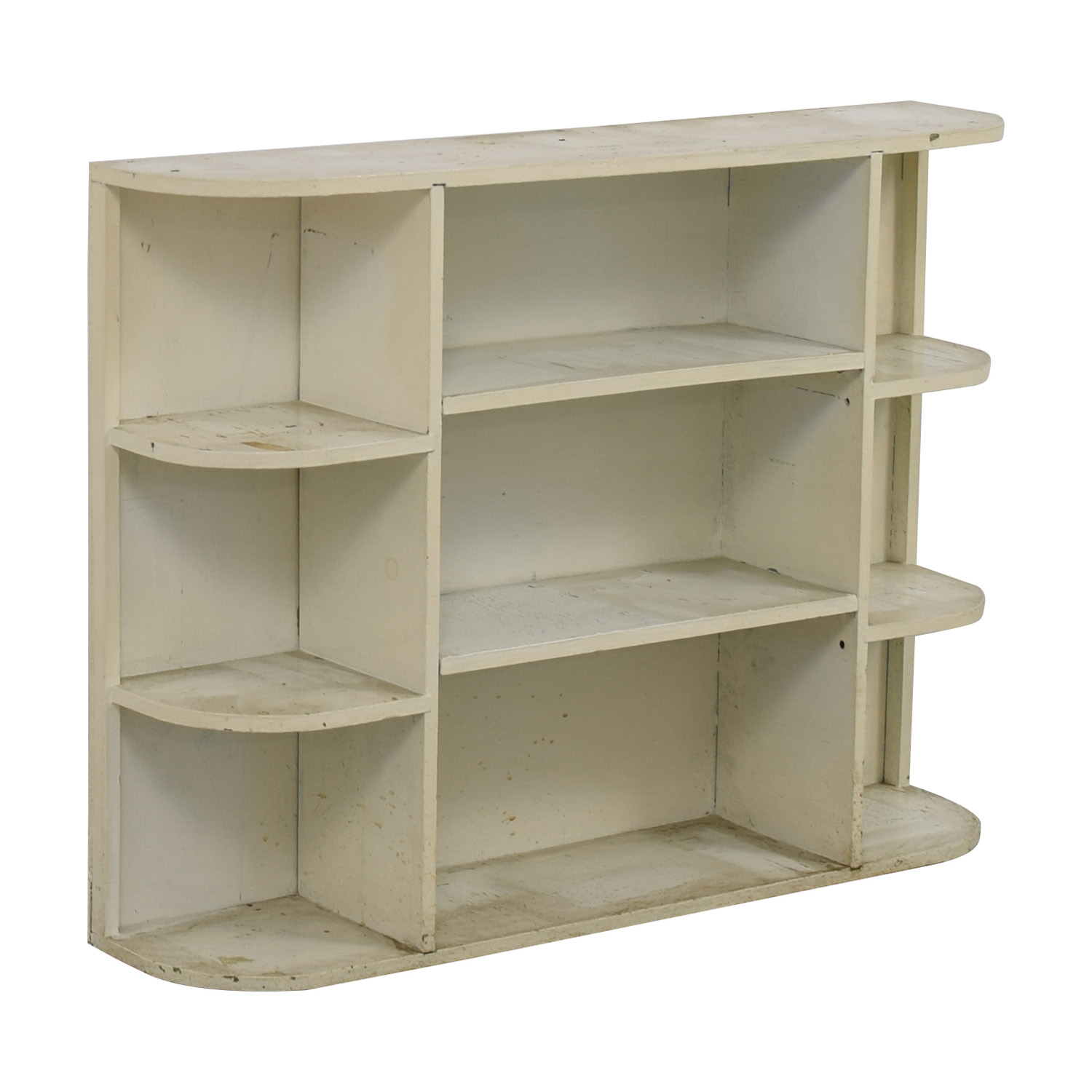 90 Off Rustic White Painted Book Shelf Storage