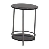 90% OFF - Round Black and Chrome End table / Tables