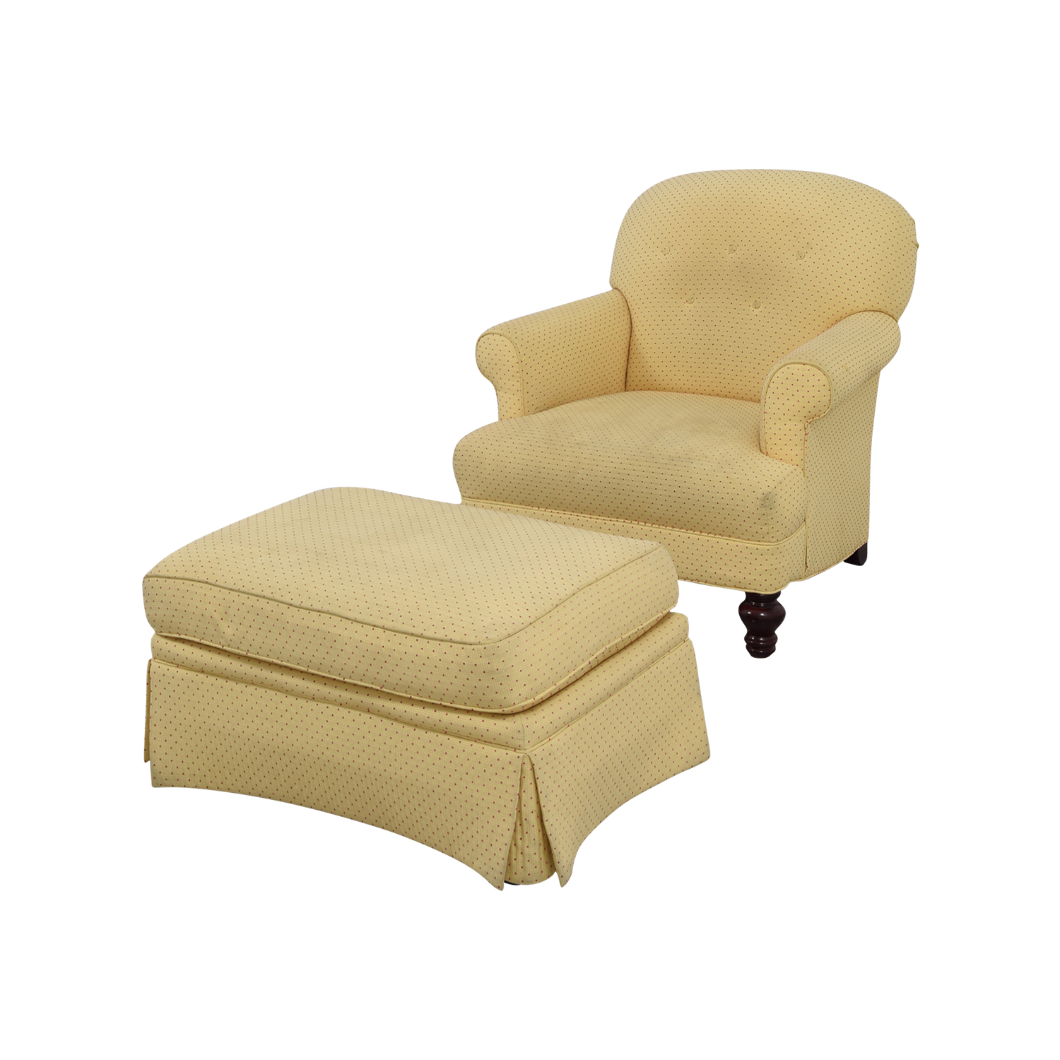 Small Chair With Ottoman 90 Off Yellow Arm Chair With Ottoman Chairs