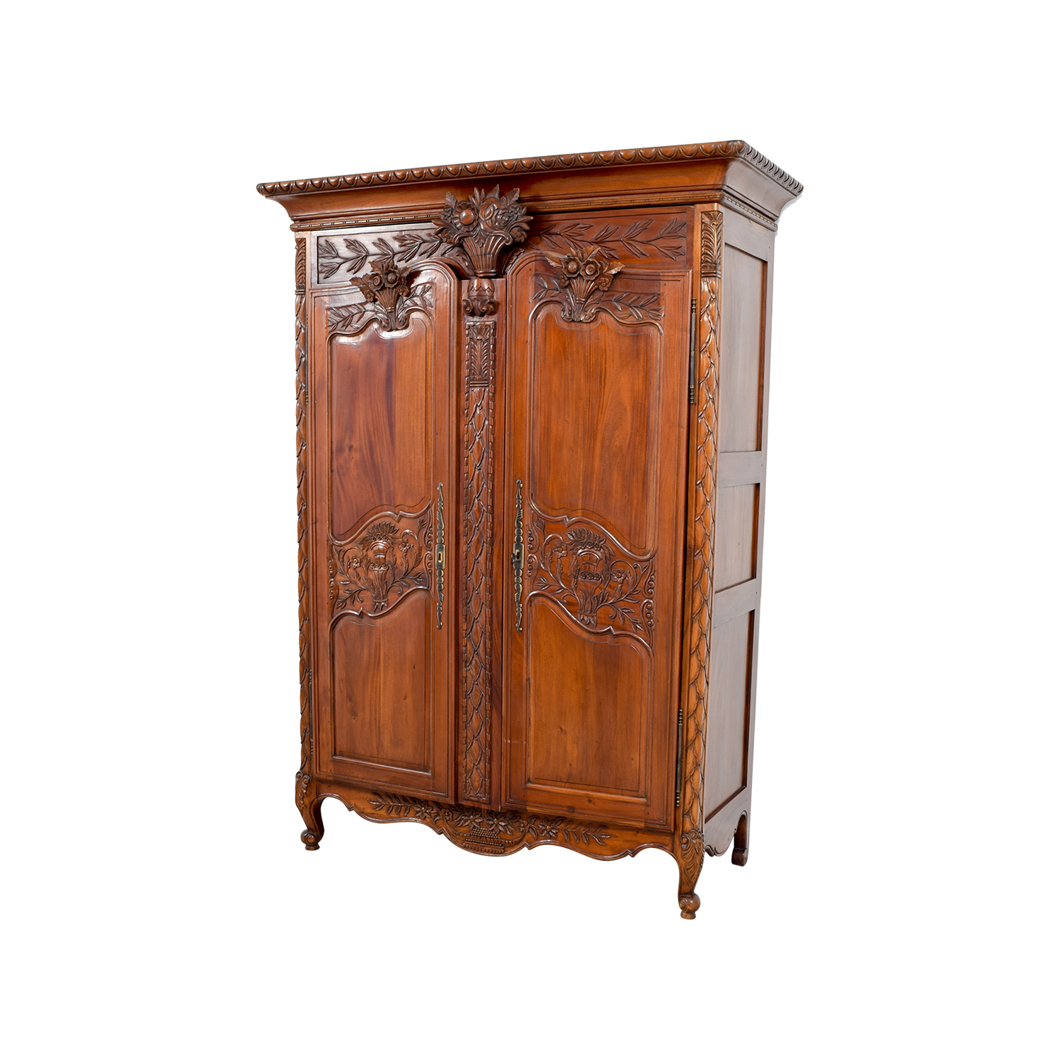 wooden hand chair bali lucite folding chairs 74 off carved wood armoire storage