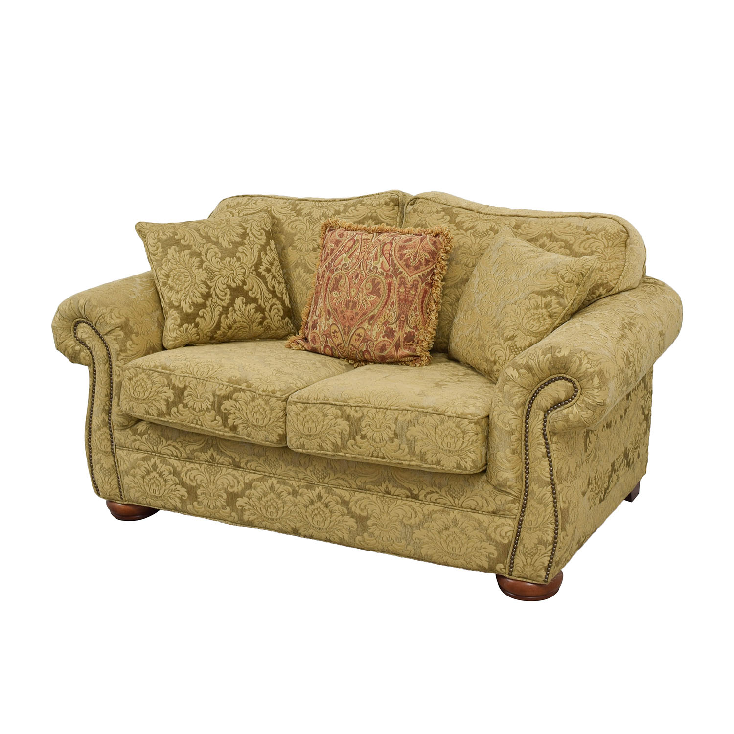 gold sofa throw pillows small queen size sleeper 84 off upholstered loveseat with toss sofas