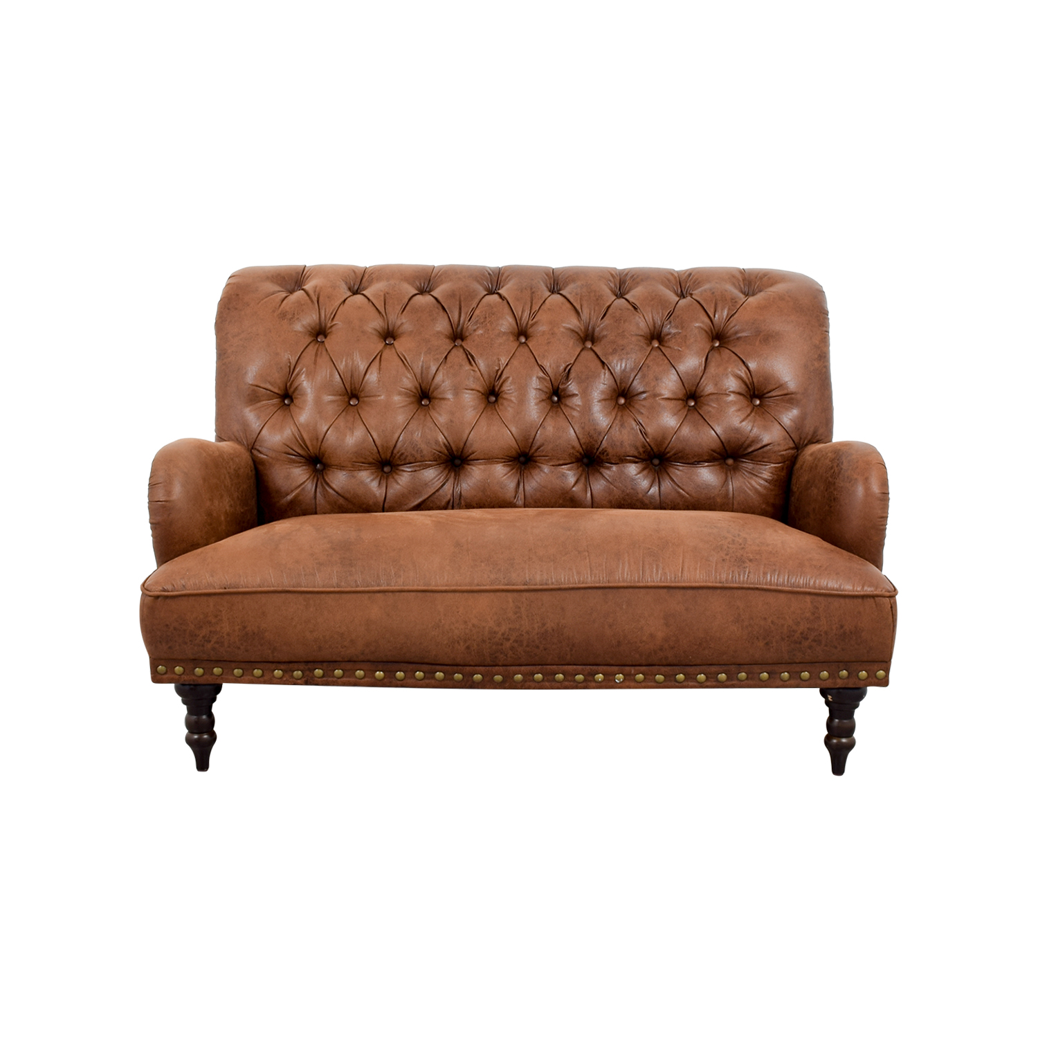 tufted brown leather sofa change upholstery singapore fancy