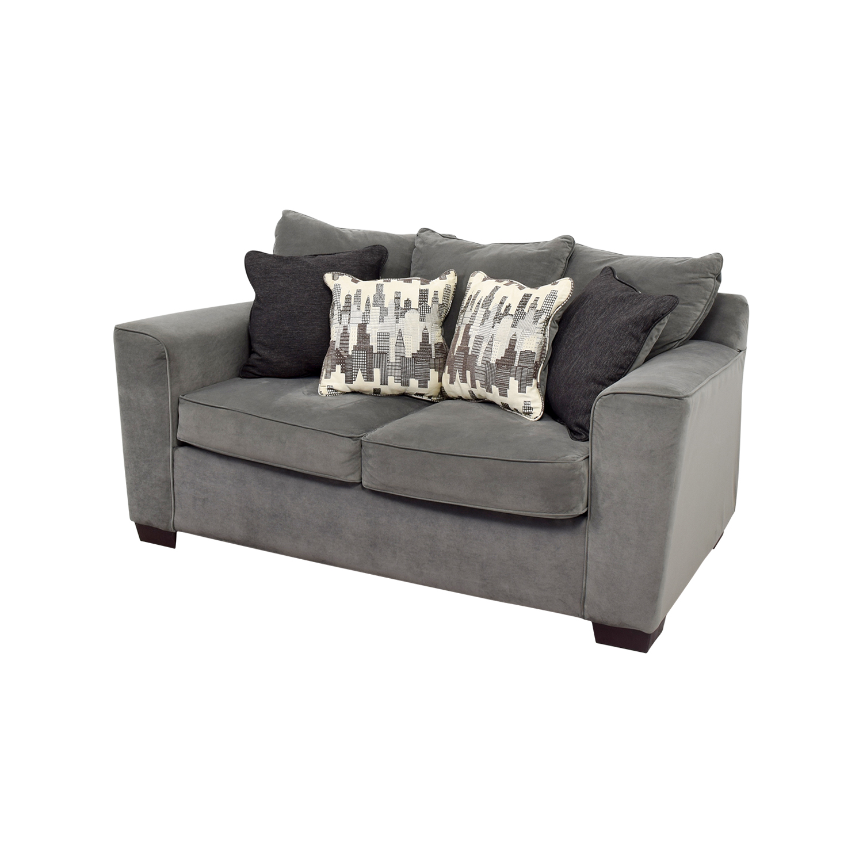 bobs furniture sofa recliner apartment size canada 44 off bob 39s grey loveseat