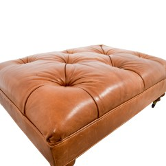 Leather Tufted Chair And Ottoman Office Cushion For Back Pain 81 Off Ethan Allen Anton