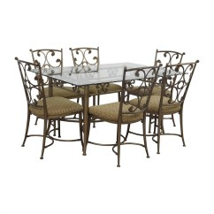 Iron Chair Price White Office Chairs Johannesburg 90 Off Glass And Gold Wrought Dining Set Tables