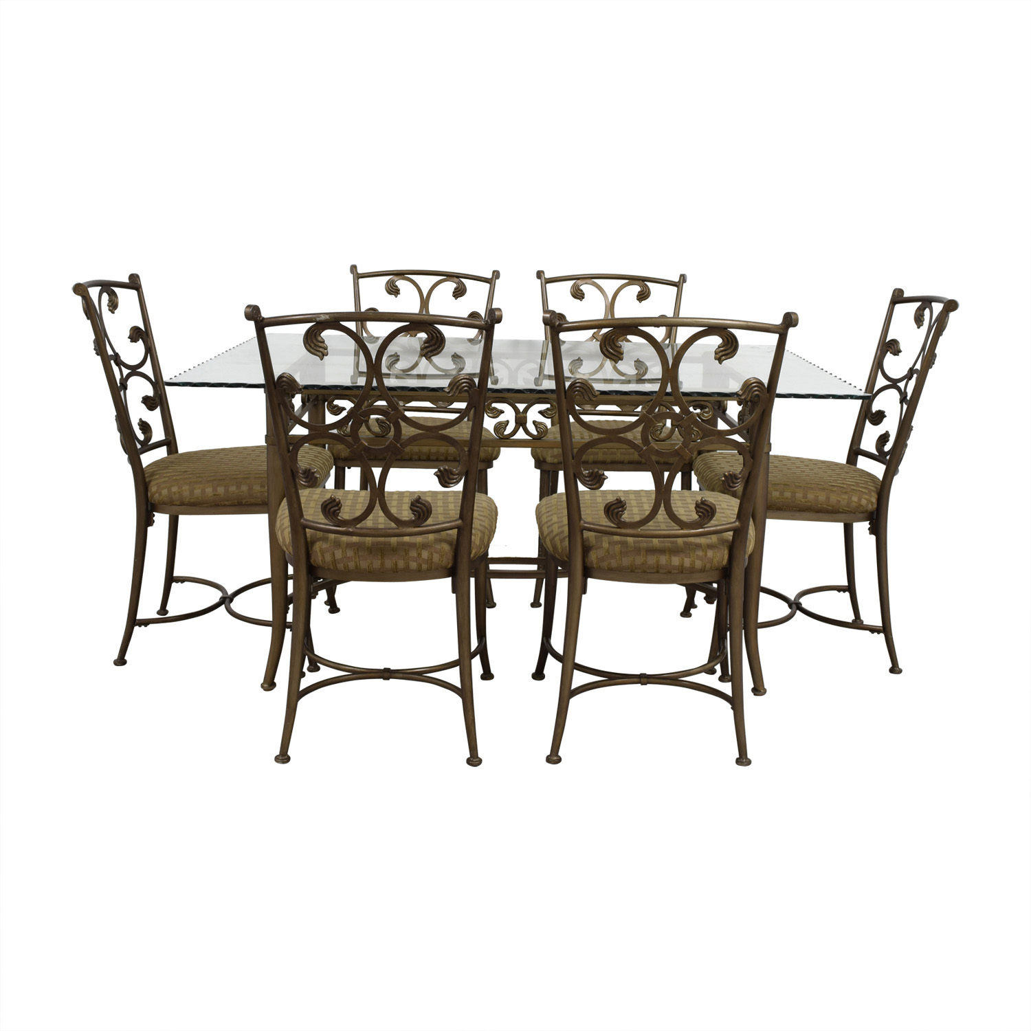 wrought iron dining chairs antique chair repair 90 off glass and gold set tables