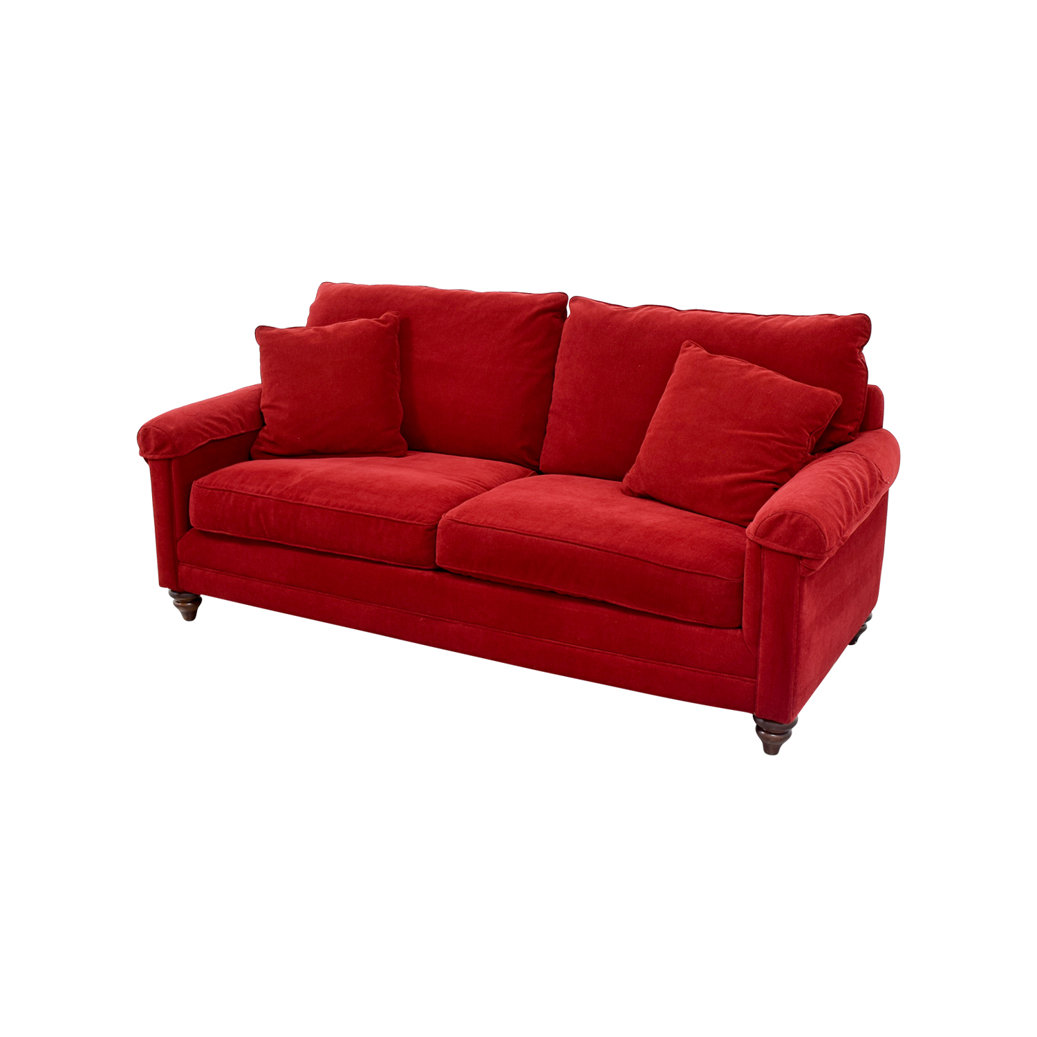 bassett sofa bed grey chenille sectional 88 off red curved arm two cushion couch