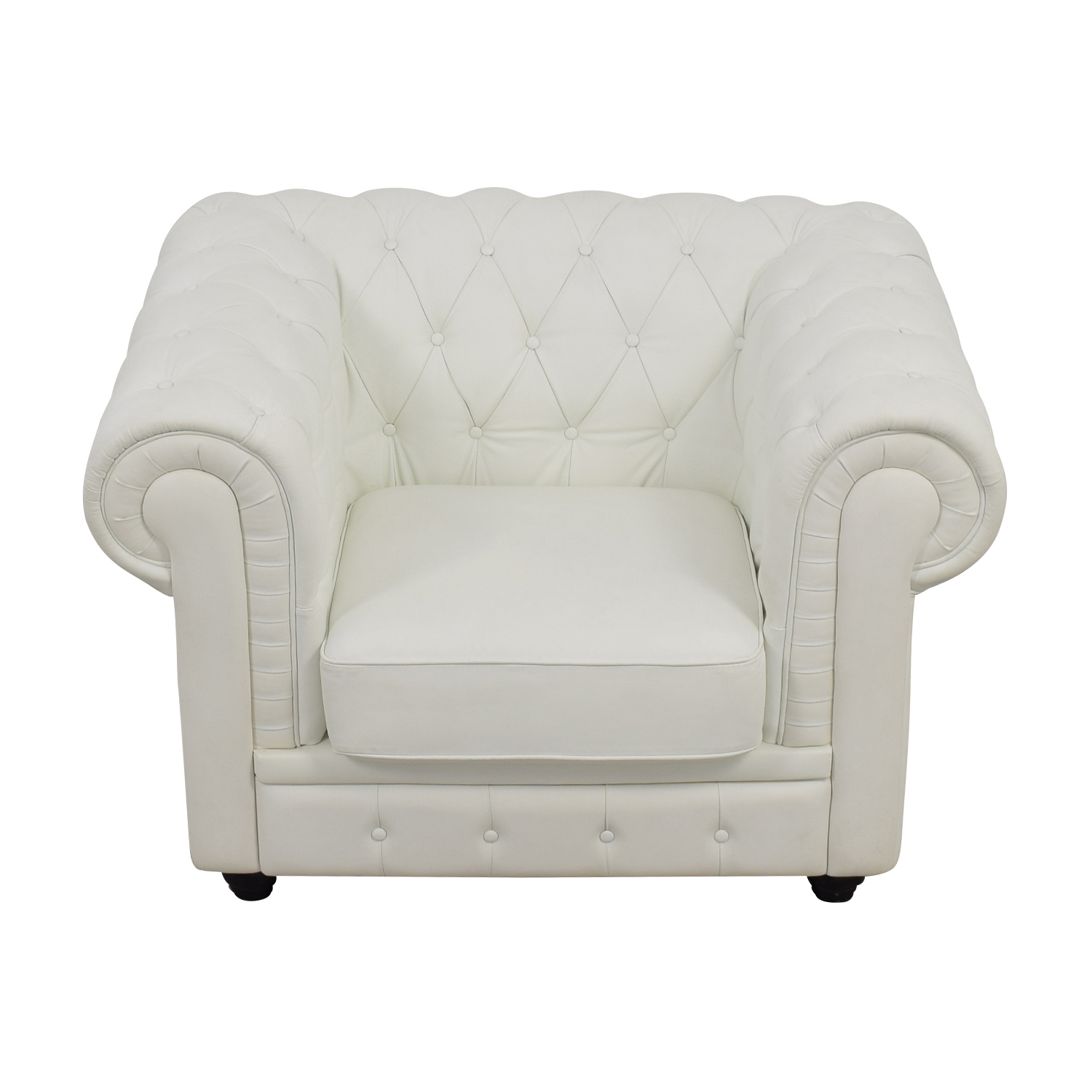 White Tufted Accent Chair Shop Chesterfield Leather Used Furniture On Sale