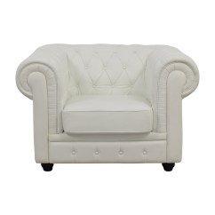 White Tufted Chair Star Trek Chairs 86 Off Chesterfield Leather Accent Used