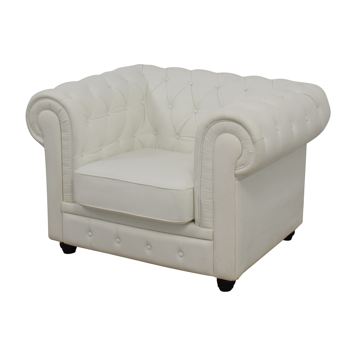 white tufted chairs wingback chair slipcovers 86 off chesterfield leather accent