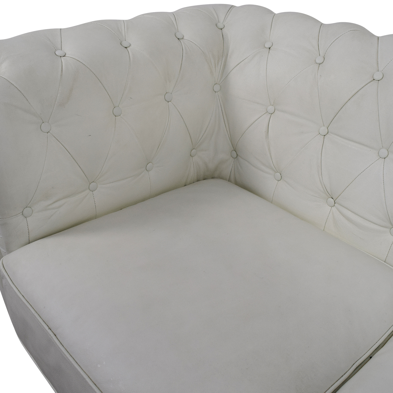 90 OFF  Chesterfield White Tufted Leather Sofa  Sofas