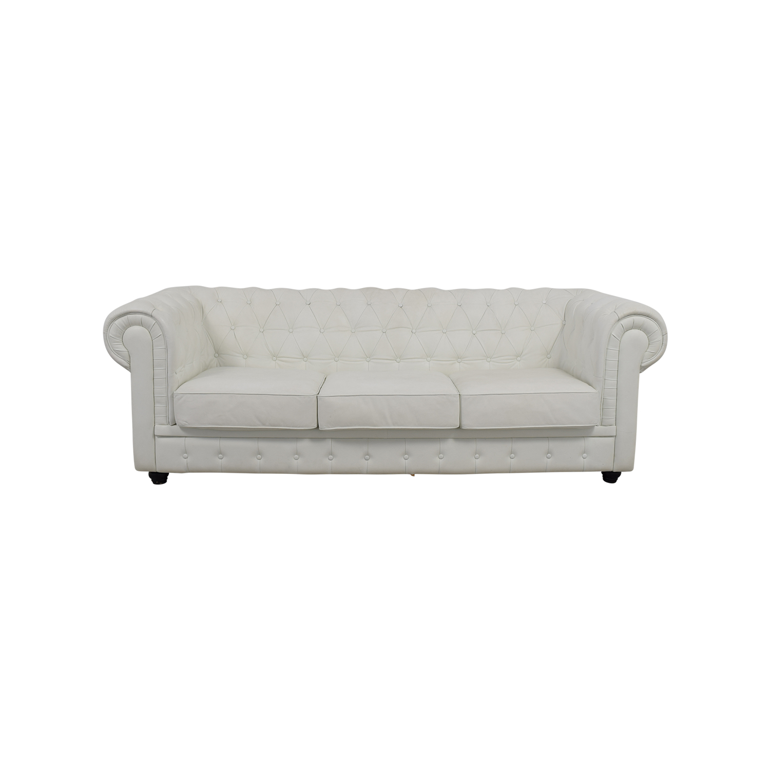 chesterfield sofa leather white best bed mattress replacement tufted good