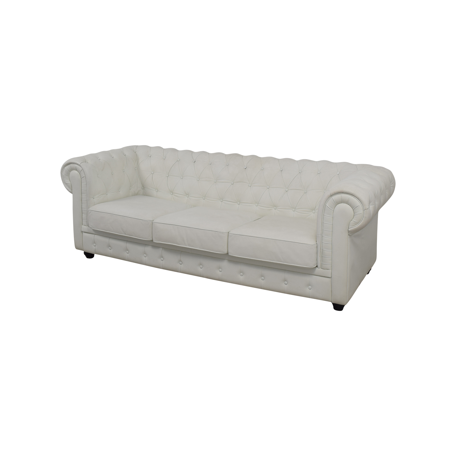 chesterfield sofa leather white knoll florence 90 off tufted sofas